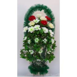 Корзина ритуальная кубок со свисающими цветами