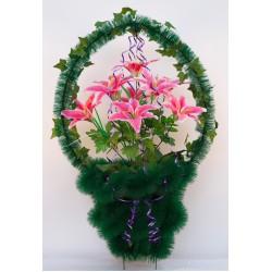 Корзина ритуальная с лилиями
