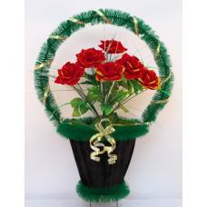 Корзина ритуальная с бархатными розами