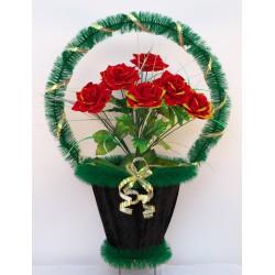 Корзина ритуальная с бархатными розами 60 КБУ