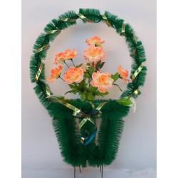 Корзина ритуальная средняя с розами 10 КСУ