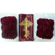 Обивка для гроба внешняя бархат, галстук атлас с термоаппликацией крест