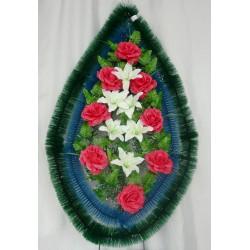 Венок ритуальный капля малая, вставка синий ерш