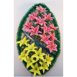 Венок ритуальный ракушка с лилиями двух цветов