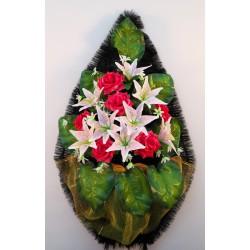 Венок ритуальный с лилиями и большими листами 122 ФБУ