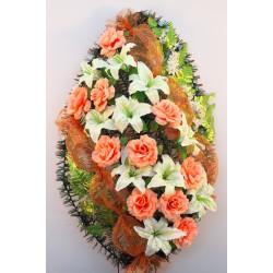 Венок ритуальный лилии с розами 166 ФБУ