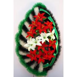 Венок ракушка с разными лилиями