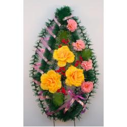 Венок ритуальный средний с тремя розами 50 ФСУ