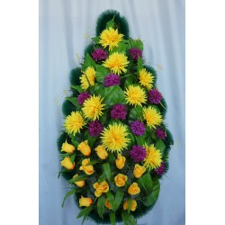 Венок ритуальный  Хризантемы с розами 77 ФБУ